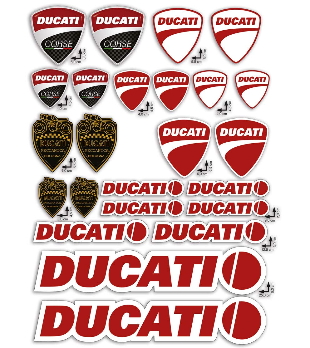 GamesMonkey Stickers Pegatinas Set Ducati Corse Logo Panel Entero 24pz Oferta Motor Casco Moto ...: Amazon.es: Coche y moto