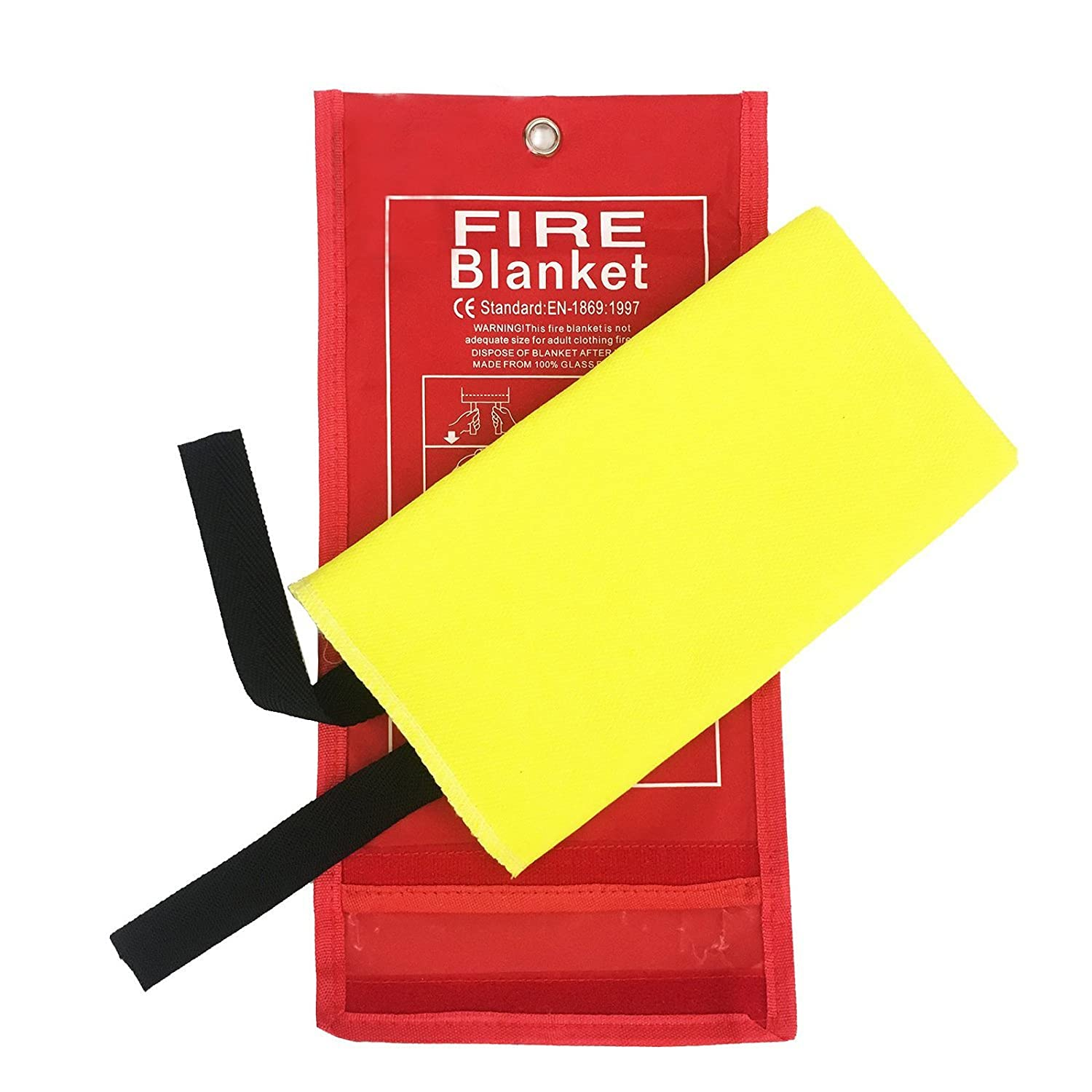 39.3/×39.3 inches Yellow Flame Retardant Protection and Heat Insulation with Various Sizes Tonyko Advanced Fiberglass Fire Blanket With Smooth Silica Coating for Emergency Surival