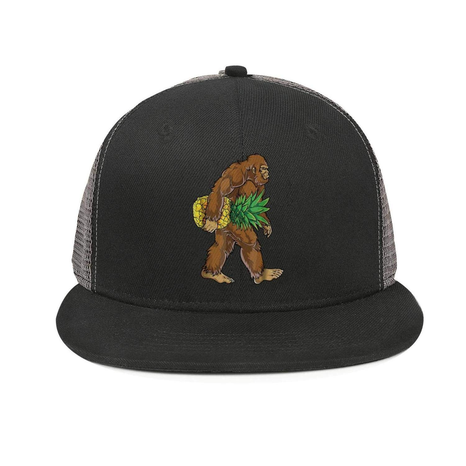 Bigfoot Carrying Pineapple Funny Snapback Ball Cap Vintage All Cotton Caps Relaxed Dad Hats