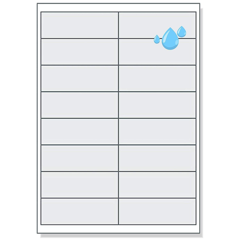 /2/x 8/pezzi//lato 160/Schermo etichette 99,1/x 34 su A4/ Etichette 99,1/x 34/mm resistente alle intemperie trasparente
