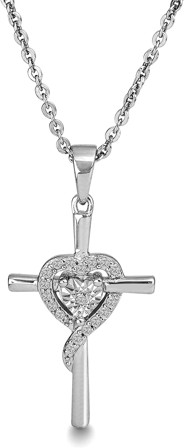 14k Two-tone and Rhodium Sister Heart Pendant