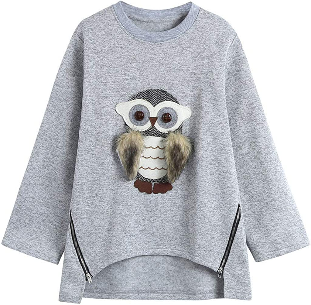 Girls Kids Long Sleeve Sweatshirt Shirts 6-13 Years Old Children Cute Fashion Cartoon Owl Print Hoodie Tops