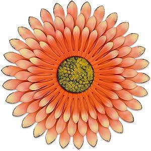 Orange Metal Flower Wall SculpturesArt for Indoor Outdoor Decor 3 Layer 12inches