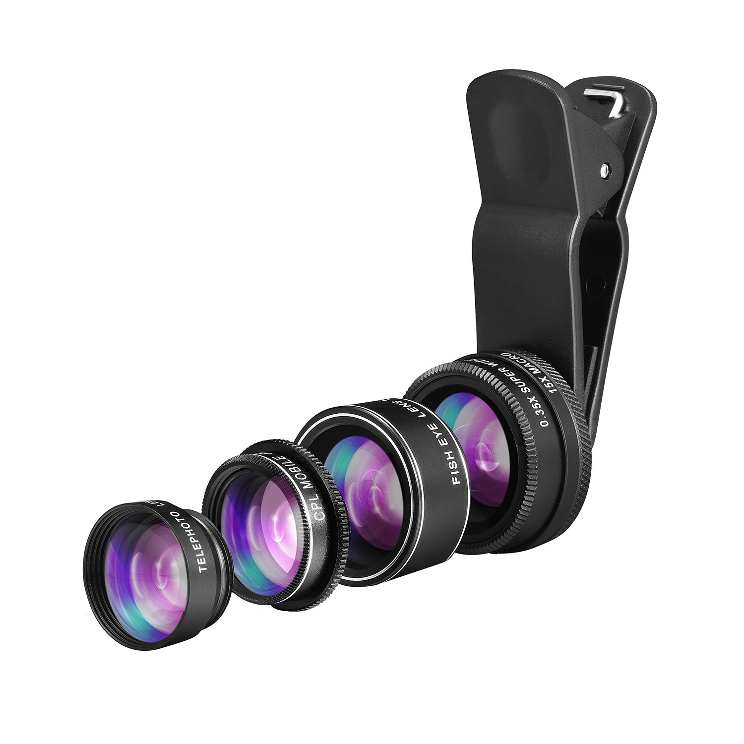 TECHO 5 in 1 HD Camera Lens Kit [Fisheye Lens, Macro Lens, 0.35X Wide Angle Lens, 2X Zoom Telephoto Lens, CPL] Cell Phone Lens for iPhone X, 8, 8 Plus, 7,6, SE & Most Smartphones by TECHO