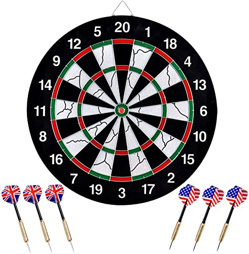 wuudi Dart Board, Double-Sided Flocking Dartboard with 6 Brass Darts 18 inches
