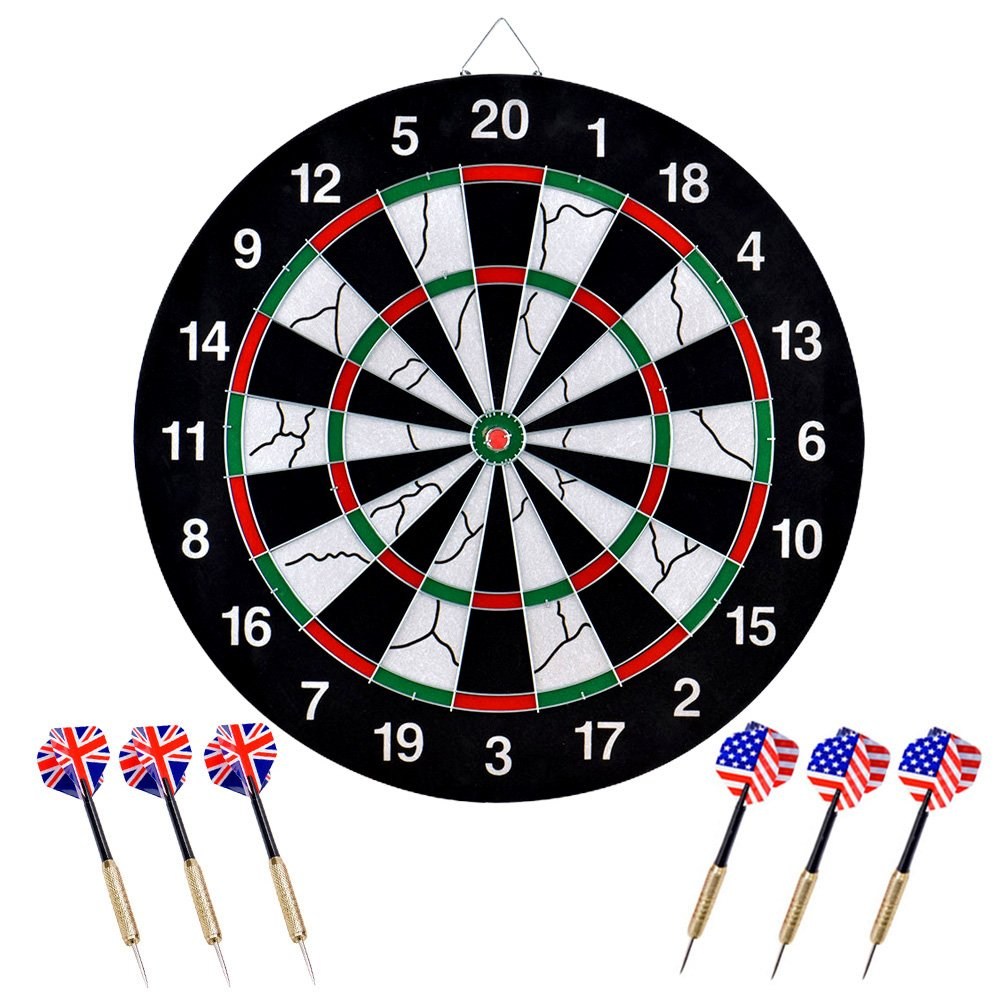 https://www.amazon.com/dp/Wuudi Dart Board, Double-sided Flocking Dartboard with 6 Brass Darts(18 inches)/?tag=bees99-20
