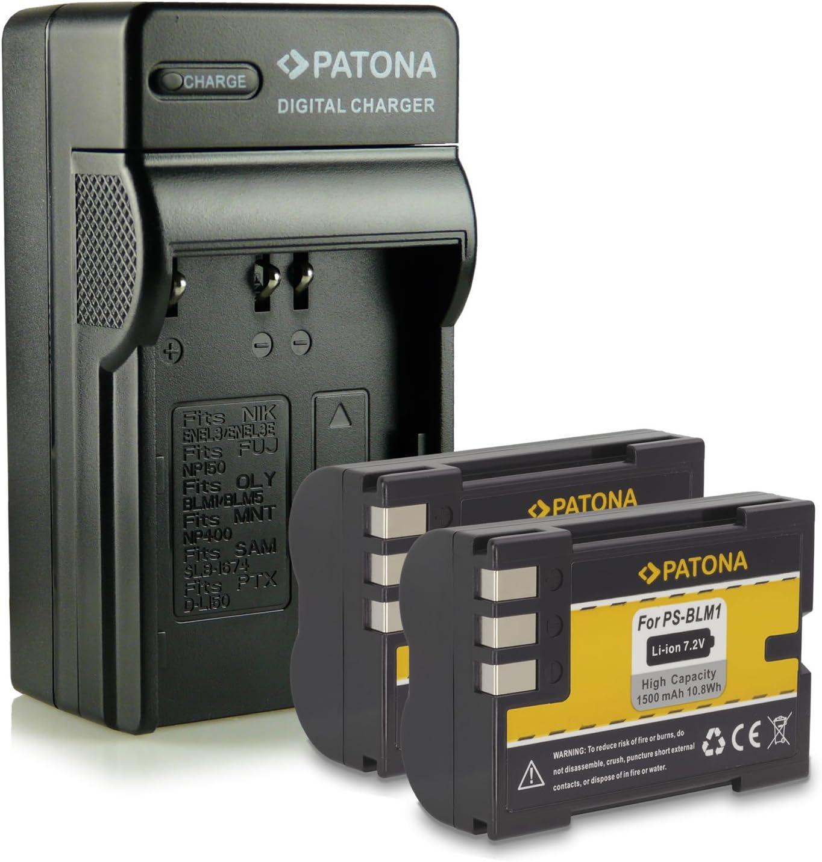 Bundle - 4en1 Cargador + 2x Batería PS-BLM1 para Olympus C-5060 Wide Zoom | C-7070 Wide Zoom | C-8080 Wide Zoom | E-1 | E-3 | E-30 | E-300 | E-330 | E-500 | E-510 | E-520 | E1 | E3 | E30 | E300 | E330 | E500 | E510 | E520