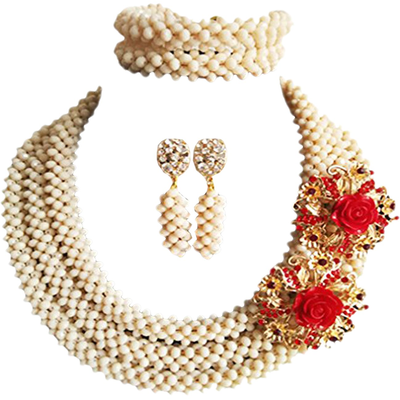 laanc Necklace Bracelet Earrings Womens,Party,Gift,Multi-Use African Beads Nigerian Wedding Jewelry Sets (Ivory)