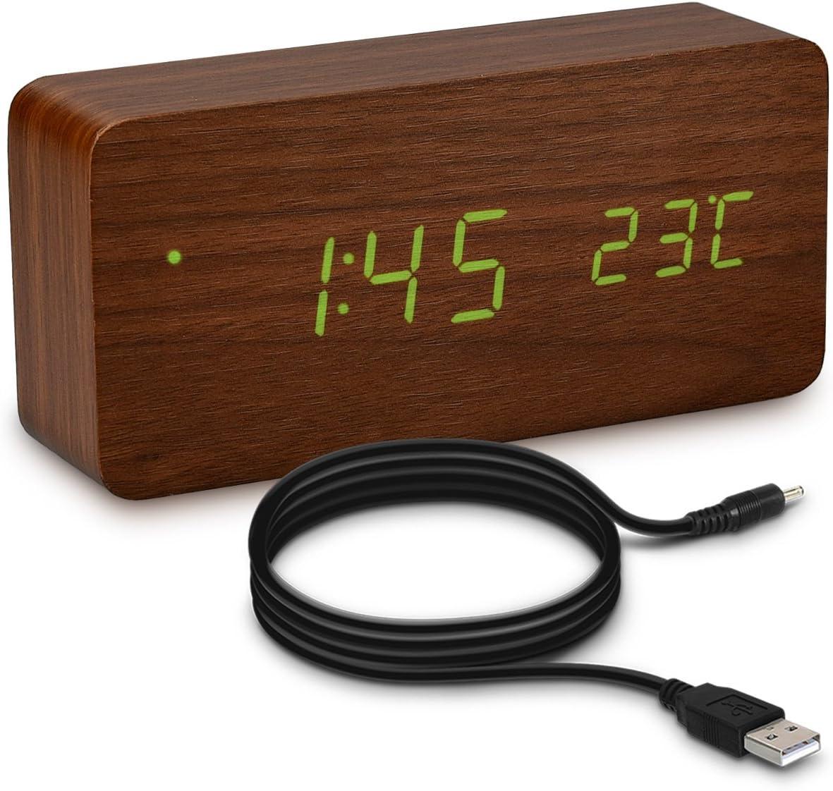 kwmobile Reloj Despertador Digital con Cable USB - Pantalla LED y activación táctil - Indicador de Temperatura y Calendario en Madera y LED Verde