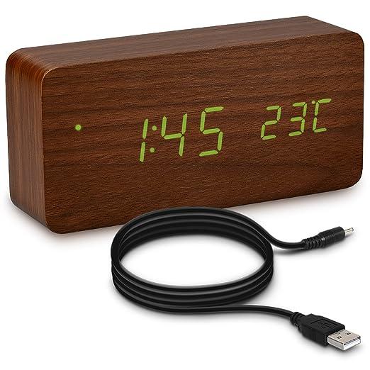 38 opinioni per kwmobile sveglia digitale con design in legno- orologio da comodino con display