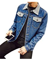 Landigo Solid Casual Slim Mens Denim Jacket Plus Size S-4XL 5XL Bomber Jacket Men