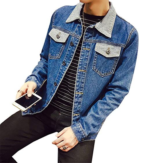 Landigo Solid Casual Slim Mens Denim Jacket Plus Size S-4XL 5XL Bomber Jacket Men