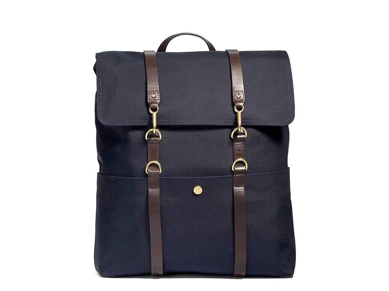 (ミスモ) Mismo BACKPACK -旅行バッグ  NAVY/DARK BROWN 書類ビジネスファッションバックパックバッグ(並行輸入品) B07H35RNFV Navy/Dark Brown One Size