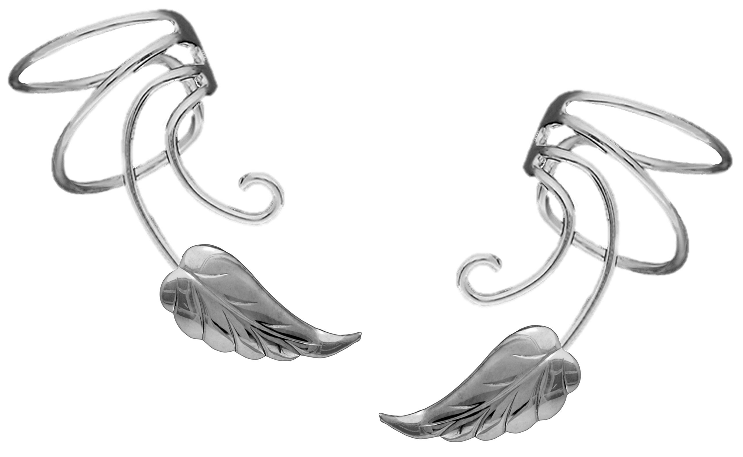 Ear Charms Feather Leaf Wave Ear Cuff Non-pierced Cartilage Wrap Earring Clips Pair in Rhodium on Silver by Ear Charms inc
