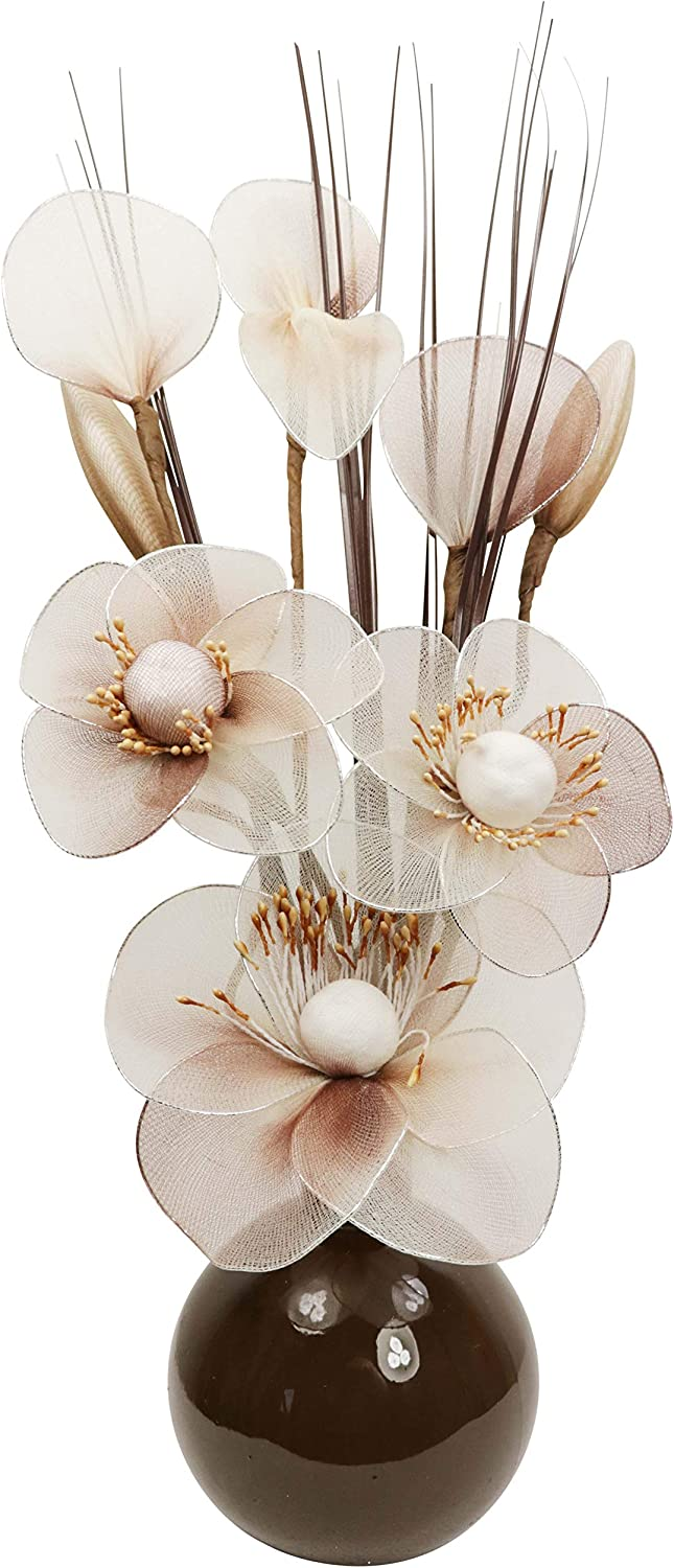 Window Sill Cream Vase with Cream Artificial Flowers Ornaments for Living Room Home Accessories 32cm