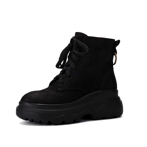 Botines de Piel de Nubuck Vintage para Mujer Botas Martin con Plataforma y Cordones Zapatos Occidentales de Cremallera con tacón bajo: Amazon.es: Zapatos y ...