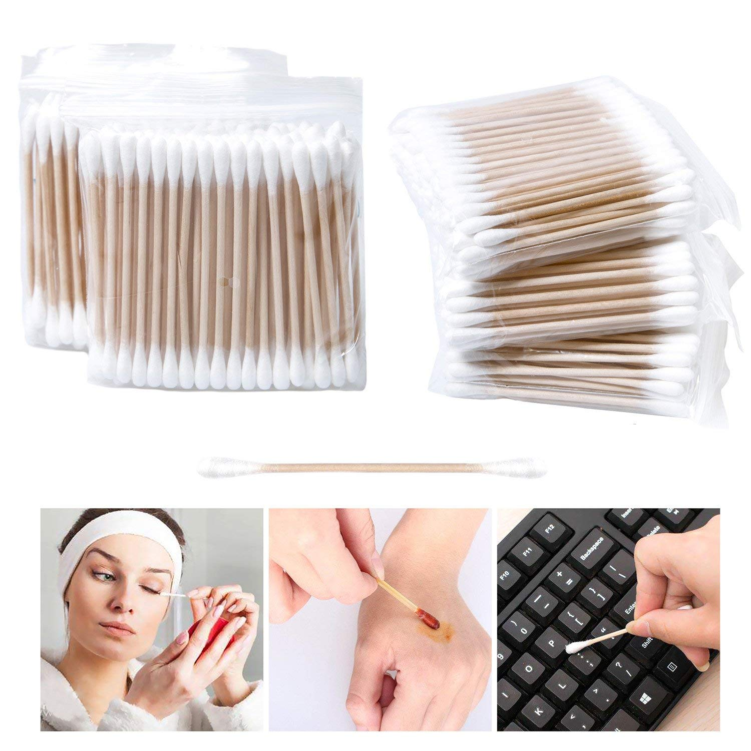 Lot de 500 Cotons-tiges avec manche en bois pour le maquillage Clean Care double tê te Bâ tons de maquillage yiqi