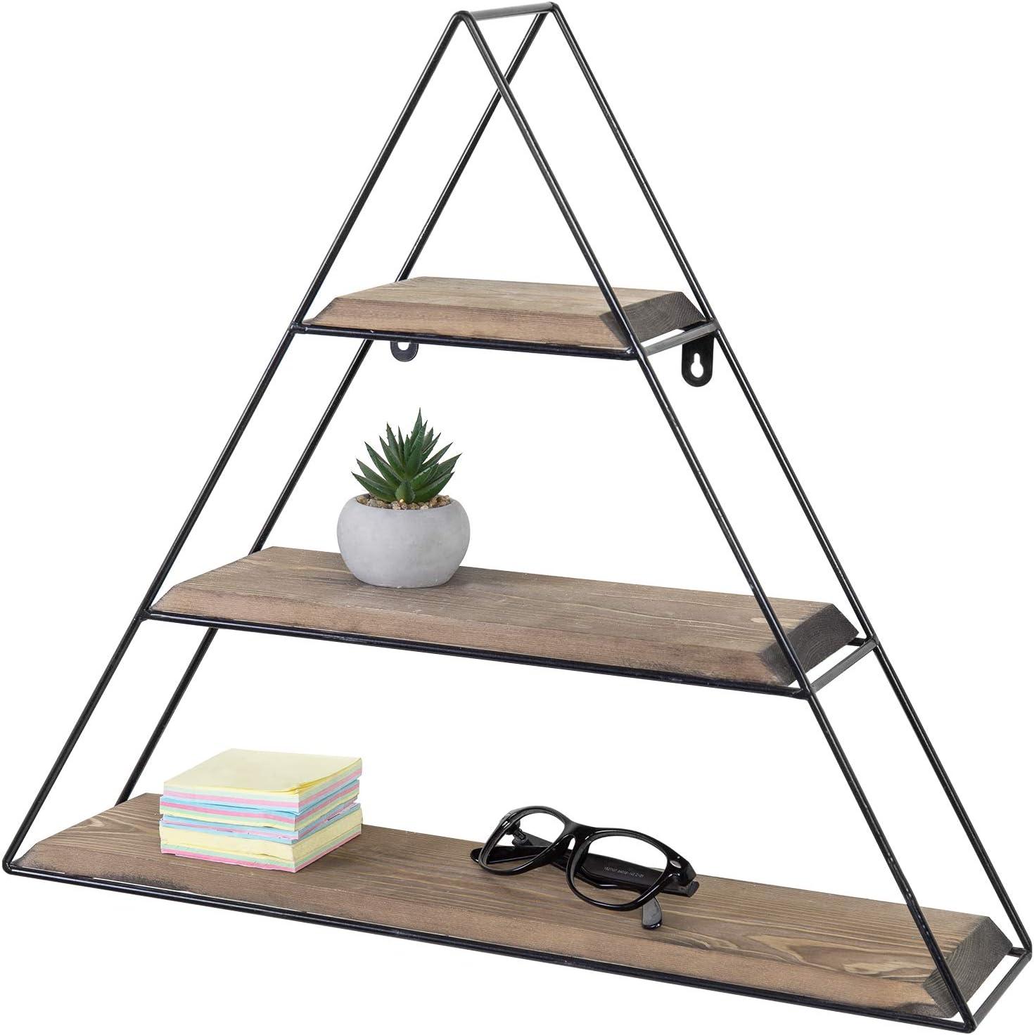MyGift 3-Tier Triangle Design Wall Mounted Coffee Brown Wood & Metal Shelf