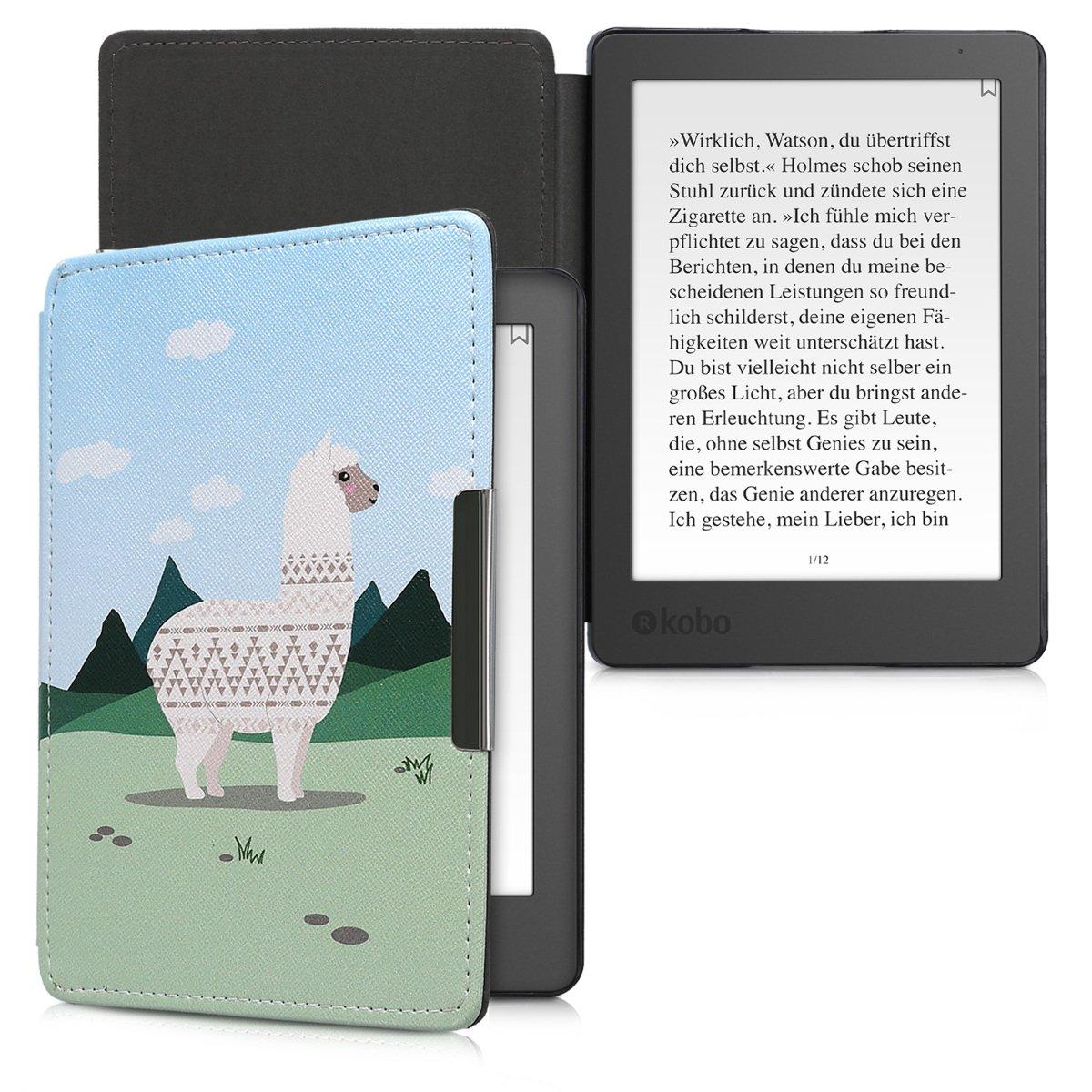 Carcasa para e-Reader de Cuero sint/ético kwmobile Funda para Kobo Aura Edition 2 Case con dise/ño con Copos de Nieve