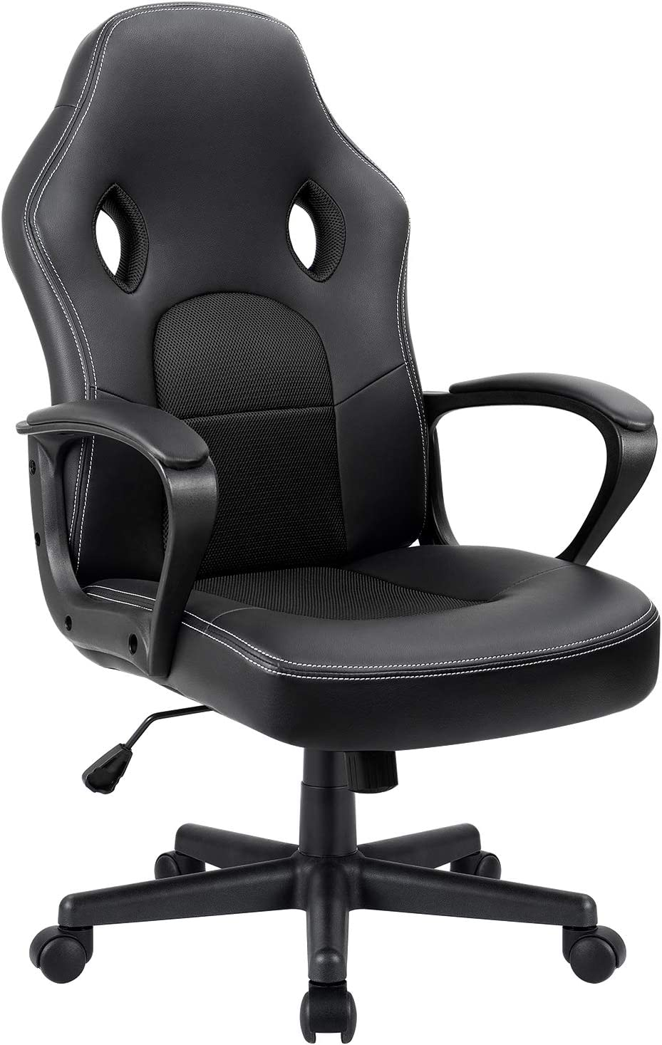 Furmax Office Chair Desk Leather Gaming Chair, High Back Ergonomic Adjustable Racing Chair,Task Swivel Executive Computer Chair Headrest and Lumbar Support Black