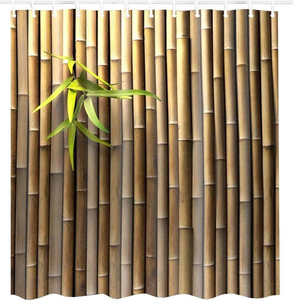 BROSHAN Bamboo Printed Shower Curtain,Zen Spring Nature Bamboo Elegant Tan Home Decorative Bath Curtain, Asian Waterproof Fabric Bathroom Decor Set with Hooks, 72 x 72 Inch