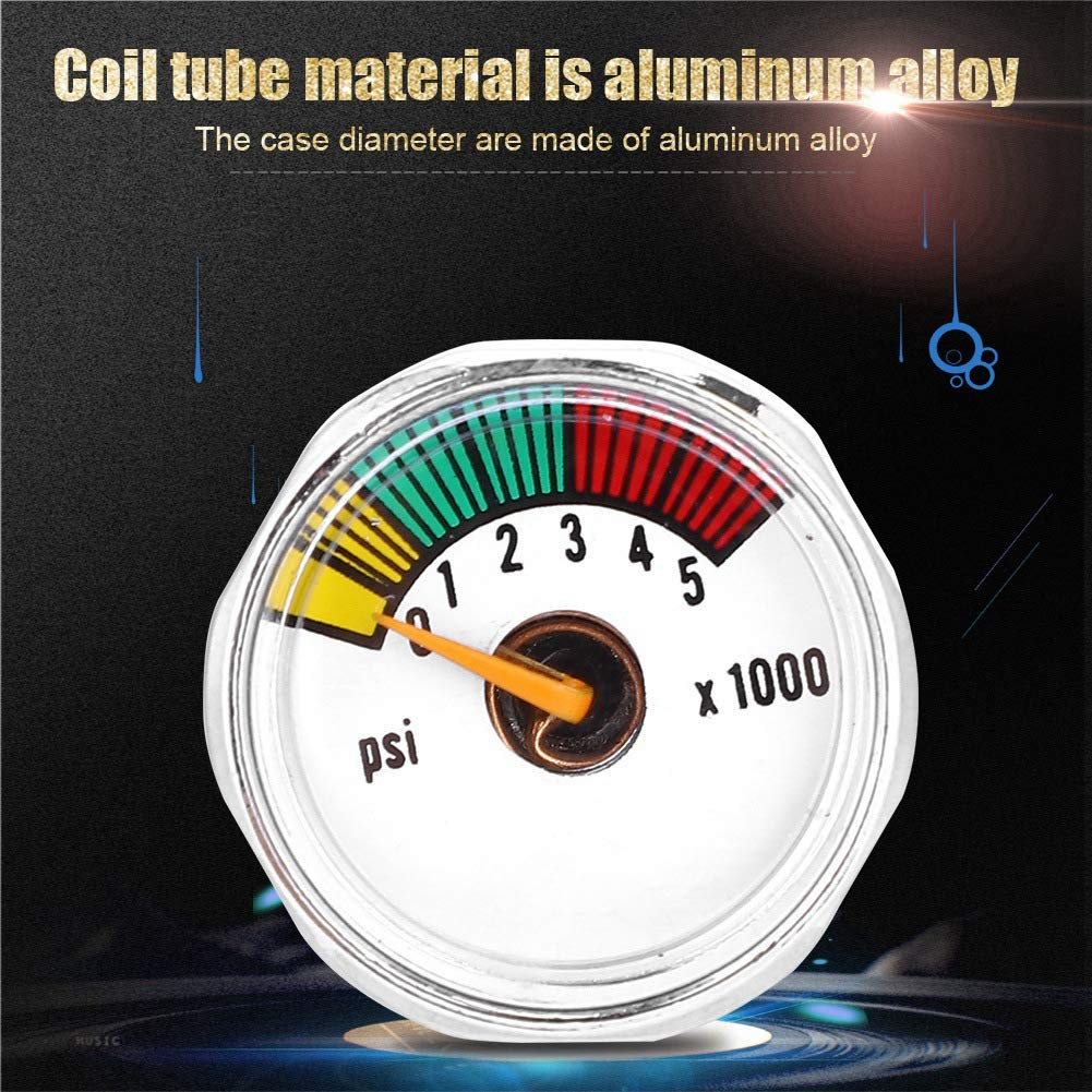 Qii lu Manometro Micro 3000 Manometro 3000psi e 5000psi 1//8 NPT per Fucile ad Aria compressa Paintball PCP