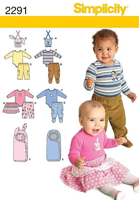 Simplicity 2291 - Patrones de costura para ropa de bebé (tallas XXS ...