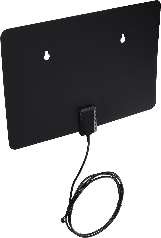 Antena Plana para Interiores HDTV de 25 Millas de Alcance – Antena Interior HDTV súper Delgada 5500 A – Cable coaxial de 6 pies, alimentación por ...