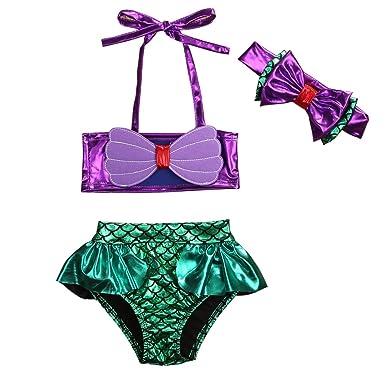 59add004a8 Carolilly Vêtement Enfant Bébé Fille de 3 Pcs Thème La Petite Sirène Maillot  de Bain Bikini