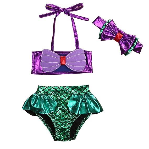 3Pcs Baby Kids Girls Bowknot Mermaid Bikini Set Top+Briefs+Headband Swimsuit Bathing Suit