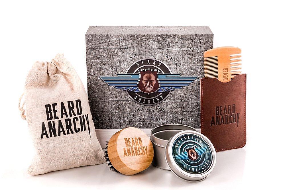 BEARD ANARCHY - Style without Limits, hochwertiges Bartpflege Set - Geschenkbox für Männer. Bartkamm aus Birnbaumholz, runde Bartbürste mit Wildschweinborsten. Premium Bartpflegeset. HOUSE OF ANARCHY