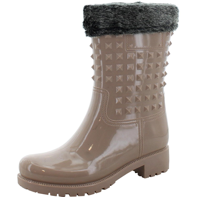 Forever - Women's Fur Socking Studded Rain Boots - Black