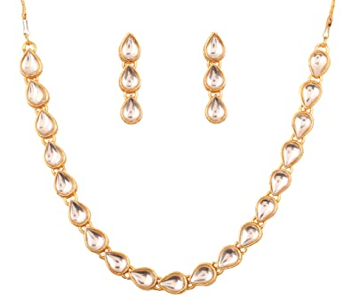 Touchstone Indian Bollywood traditional Mughal Kundan polki bridal designer jewelry choker necklace set for women in gold tone SkPtMPh