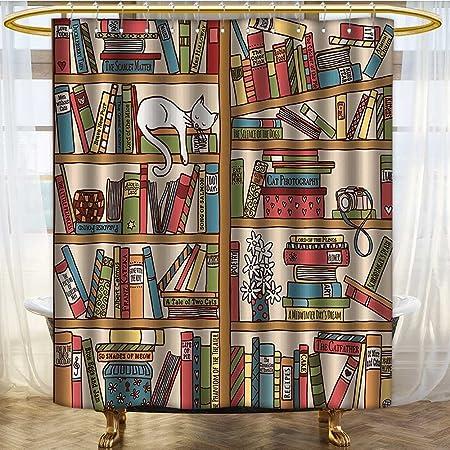 NALAHOMEQQ Cat Lover Decor Shower Curtain Set By Nerd Book Kitty Sleeping Over Bookshelf In