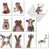 Painted Watercolor Note Cards with Envelopes (Box of 10)  All Occasion Blank Greeting Cards  Cute Animal Thank You Notecard, Appreciation  'Rainbow Wildlife' Stationery (4'' x 5'') M4948OCB-B1x10