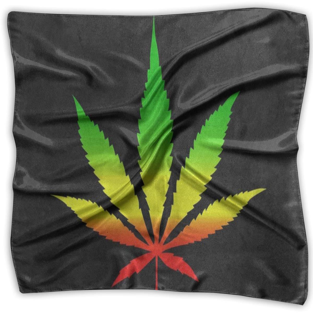 Square Scarf Marijuana Leaf Black Bandanas Unisex Muffler Tie For Adults