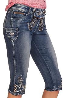 Hailys Damen Capri Jeans Caprihose Trachten Look Lederhose