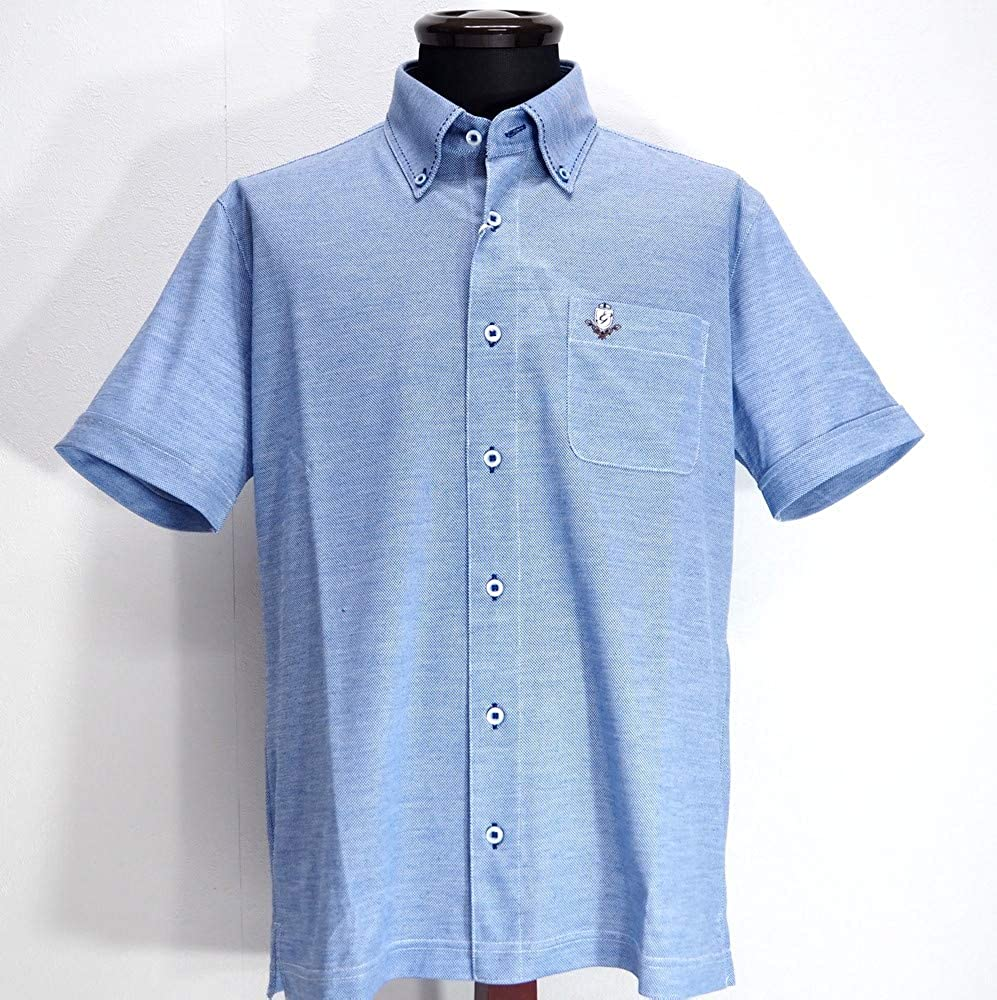 50024 G&G GEEGELLAN ジーゲラン 日本製 吸水速乾 ストレッチ 麻混 ボタンダウンシャツ 半袖 ブルー 50(LL) サイズ 日本製 メンズ カジュアル 男性 春夏 ゴルフ 通販   B07PVSBQQ6