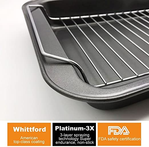 HOMOW Nonstick Heavy Duty Roaster Cookware, Roasting Pan with Rack, Roaster Pan with Rack, PFOA free (14.5