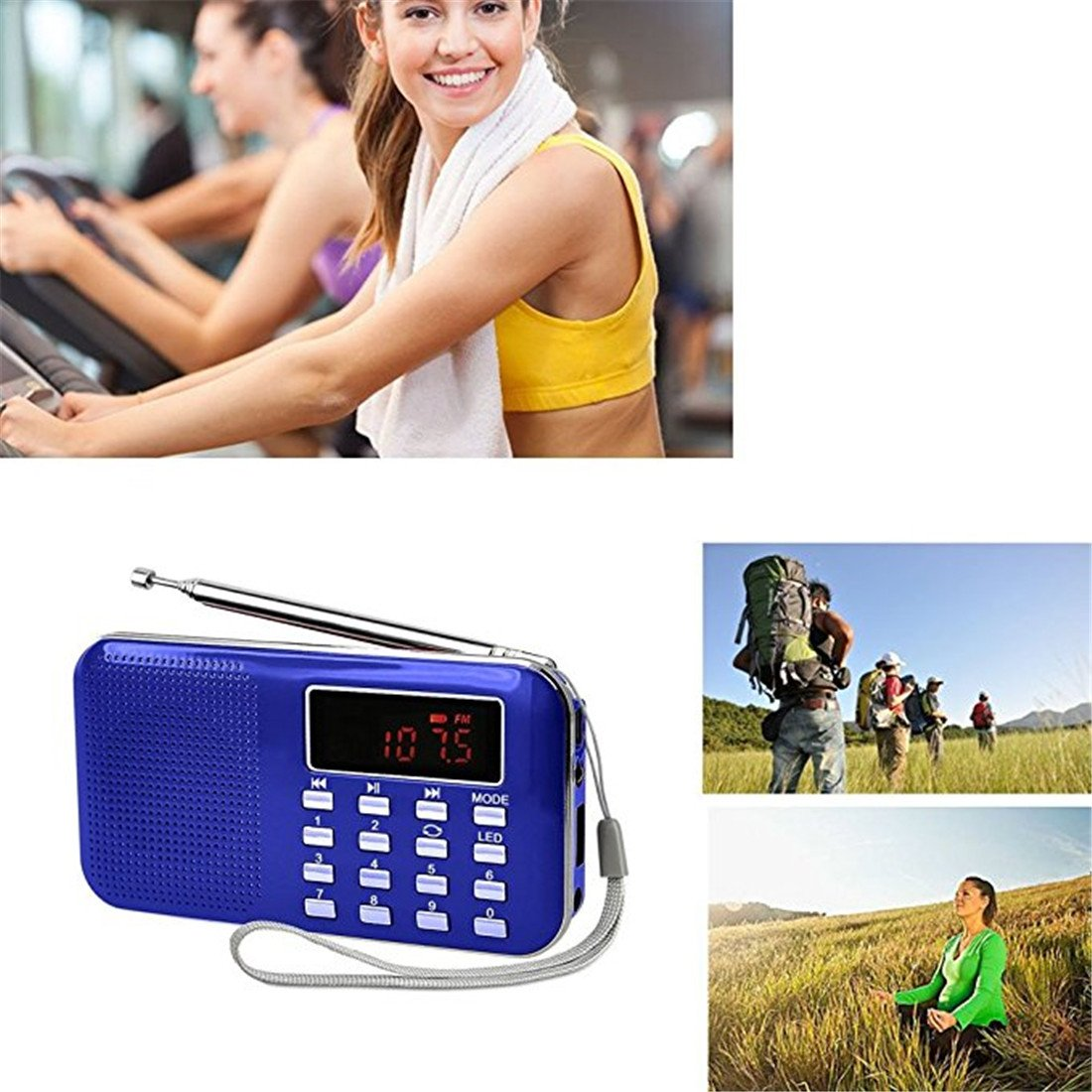 BeiLan Mini Digital AM FM Pocket Radio Portable Speaker Mp3 Music Player Stereo Sound Support TF Card USB Disk with LED Screen Display and Emergency Flashlight Function (Blue) by BeiLan (Image #3)