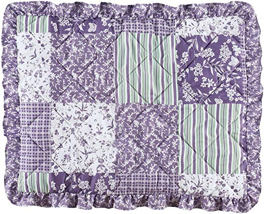Lavender Seasonal D/écor for Bedroom Twin Collections Etc Classique Lavender Ruffled Patchwork Bedspread with Accents of Green and White