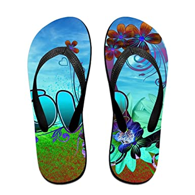 Couple Flip Flops Valentines Heart Love Print Chic Sandals Slipper Rubber Non-Slip Beach Thong Slippers