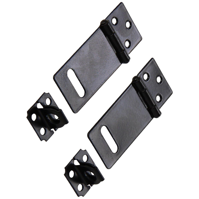 Cikuso 2 Set Door Safety Lock Black Metal Padlock Hasp Staple Set 50mm Long