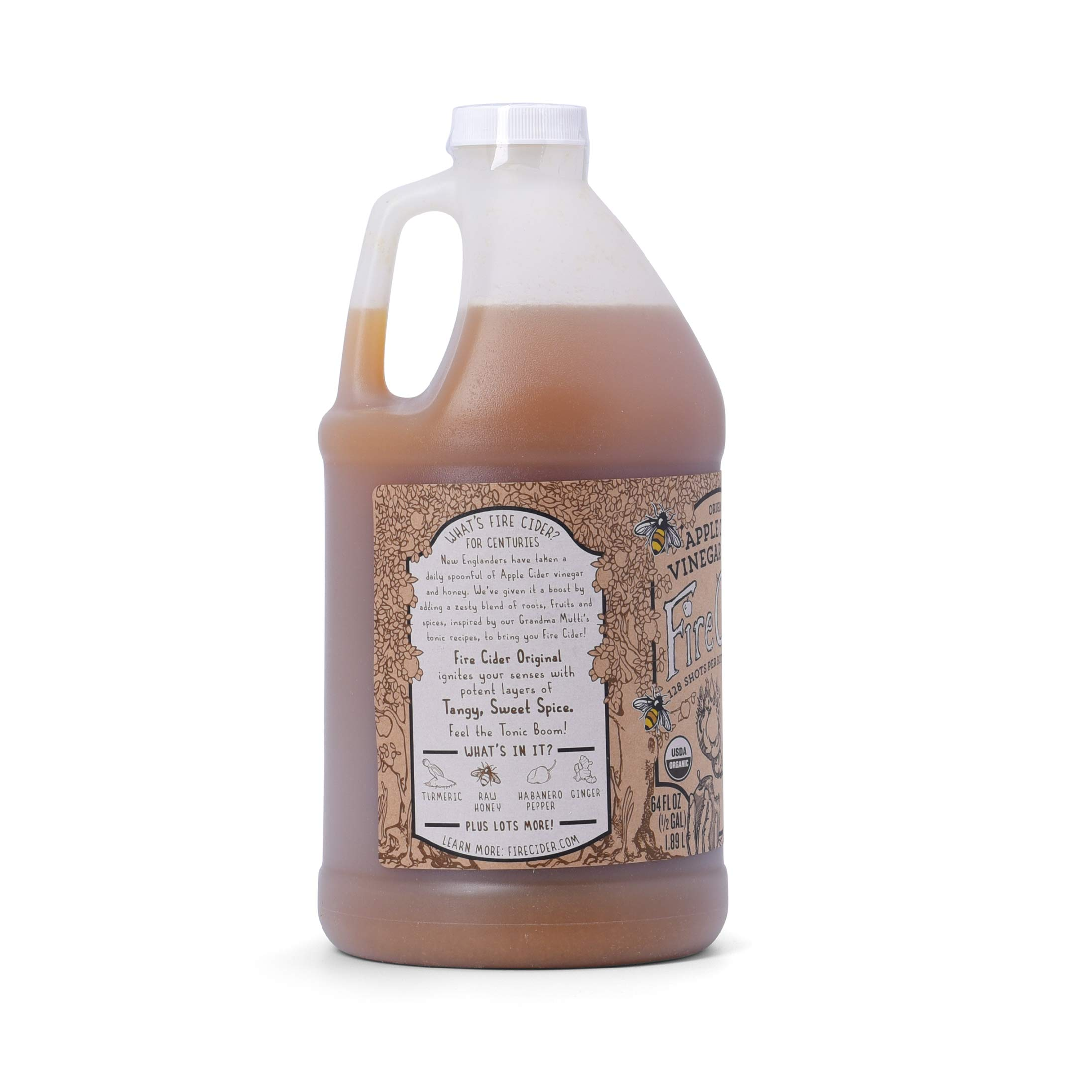 Fire Cider, Apple Cider Vinegar Tonic with Honey, Original Flavor, Pure & Raw, All Certified Organic Ingredients, Not Heat Processed, Not Pasteurized, Paleo, Keto, 128 Shots, 64 oz. by FIRE CIDER (Image #2)