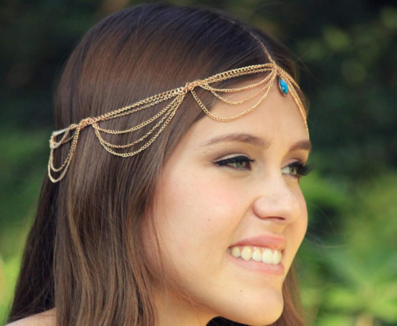KnSam Haarkette M/ädchen Haarschmuck Festival Kopfkette Haarschmuck Tr/äne Gold Haarkette Kopfschmuck