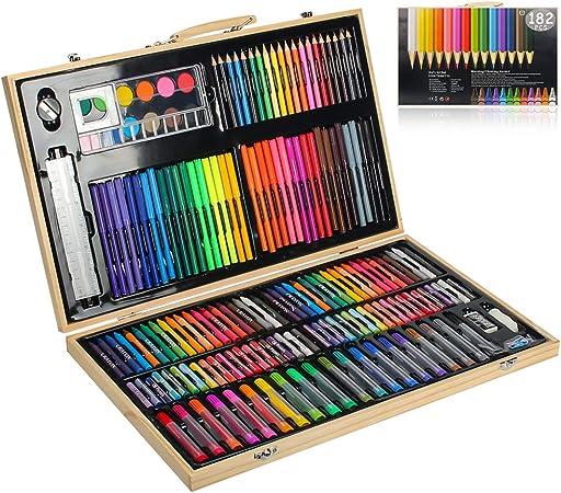MIAOKE 182 Set de Pintura Niños, Caja de madera Deluxe y Kit de Kit de dibujo