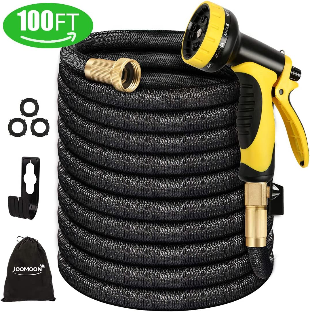 Panda Grip Garden Hose, Expandable Garden Hose,100ft Water Hose,Lightweight Flexible Triple Extension, 9 Latex Core with 3/4 Solid Brass Fittings,10 Function Spray Nozzle, Leak Resistant