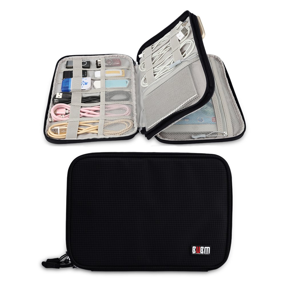Electronics Travel Organizer, Double Layer Electronic Accessories Organizer Travel Gear Bag for iPad Mini , phone, Cables, USB Flash Drive, Plug and More (Medium, Black)