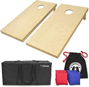 GoSports Solid Wood Premium Cornhole Set - Choose Between 4'x2' or 3'x2' Game Boards   Includes Set of 8 Corn Hole Toss Bags