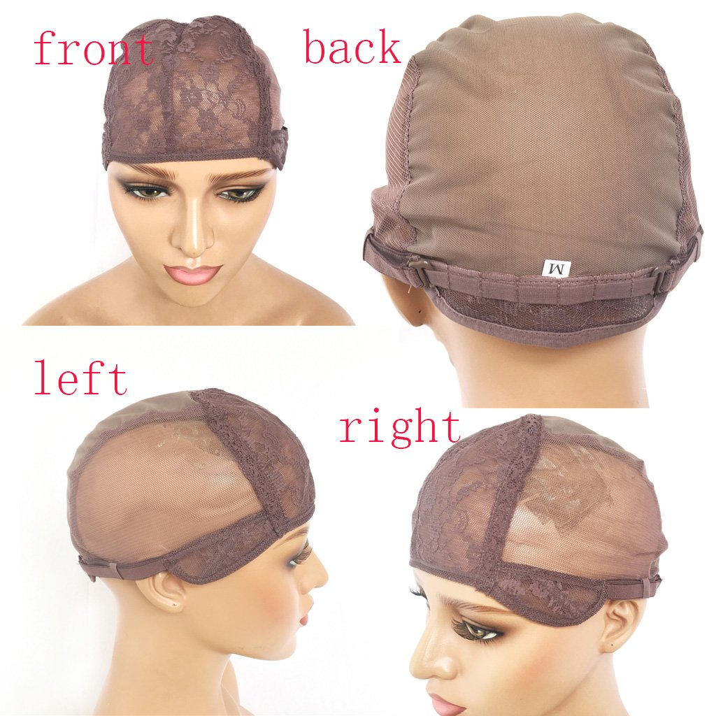 XRS Hair Wig Caps for Making Wig with Adjustable Sturdy Straps Swiss Lace Medium Brown Color Foundation Wigs Cap(Medium Size) by XRS Hair Wig (Image #1)